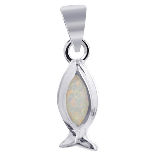 Sterling Silver White Opal with Fish Like Shape 8 x 20mm Pendant