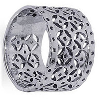 925 Sterling Silver Geometric Cut-Out Filigree Design 13mm Band #LWRS079