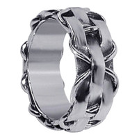 Men's 925 Plain Sterling Silver Contemporary Woven Design Stylish Braided Pattern 10mm Band #LWRS083