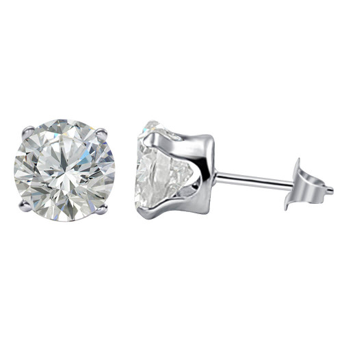 925 Sterling Silver 7mm Round Clear Cubic Zirconia Post Stud Earrings