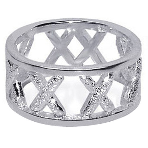 925 Sterling Silver Dust Texture X 's Design 9mm Band