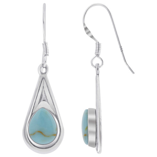 Sterling Silver Pear Shape Simulated Turquoise 37 x 10mm Drop Earrings