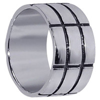 Mens 925 Sterling Silver Contemporary Bold Lines 11mm Wedding Band