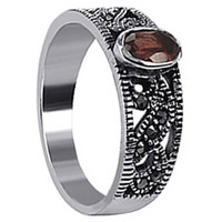 925 Sterling Silver Garnet Color Cubic Zirconia Oval with Marcasite Ring