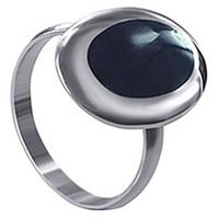 925 Sterling Silver Reconstituted Black Onyx Oval Ring