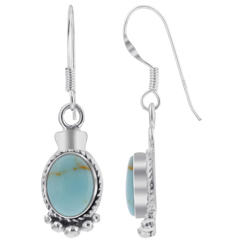 925 Sterling Silver Oval Simulated Turquoise 32 x 10mm Bali Design Drop Earrings