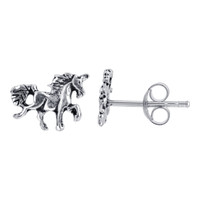 Sterling Silver 7 x 8mm Unicorn Post back Kids Stud Earrings
