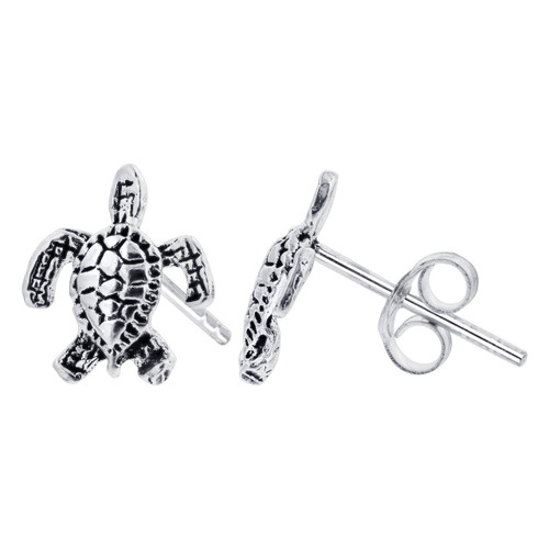 Sterling Silver 22 x 10mm Small Turtle Post back Kids Stud Earrings