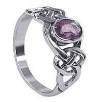 Sterling Silver Amethyst Color Cubic Zirconia Oval with Endless Knot Ring