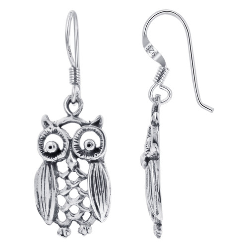 Sterling Silver 1.33 x 0.45 inch Hollow Owl French wire Kids Drop Earrings