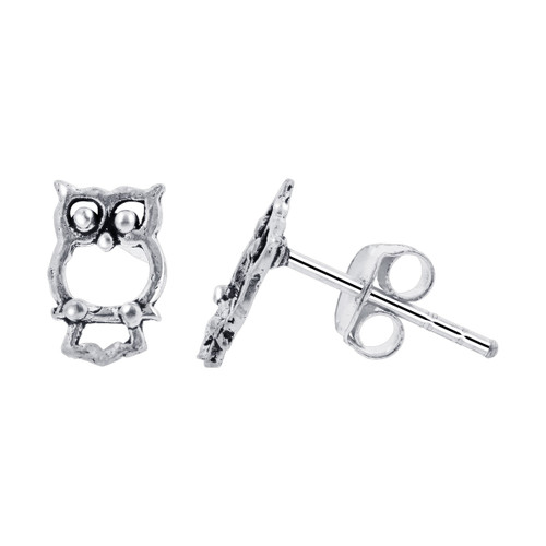 Sterling Silver 10 x 7mm Hollow Owl Post back Kids Stud Earrings