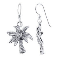 Sterling Silver 1.57 x 0.76 inch Palm Tree French wire Kids Drop Earrings