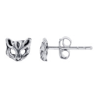 Sterling Silver 7 x 8mm Cat Face Post back Kids Stud Earrings