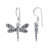 925 Sterling Silver 19mm Dragonfly French wire Drop Earrings