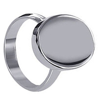 Plain Sterling Silver Oval New Engravable Plain Initial Ring #LWRS110