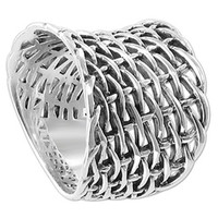 925 Sterling Silver Convex Woven Braided Mesh Ring