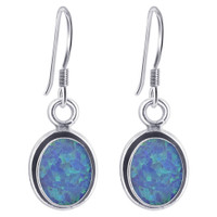 925 Sterling Silver 9mm X 7mm Oval Created Opal Gemstone Drop Earrings