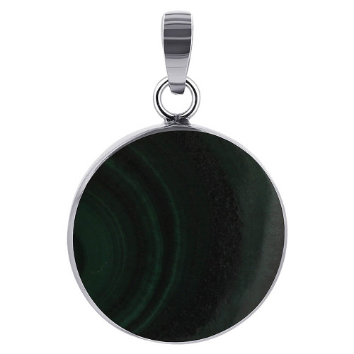 925 Sterling Silver Malachite 20mm Round Pendant