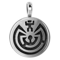 Sterling Silver Southwestern Oxidized 16mm Pendant Charm