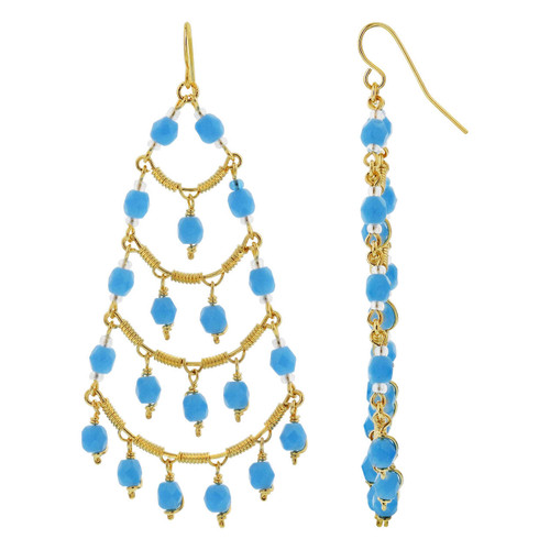 Gold Plated Brazilian Czech Seed Aqua color Beads Handmade Hypoallergenic Chandelier Earrings