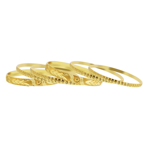 Gold Plated Carved Design Thick and Thin Bollywood Indian Bangle 7mm Bracelets