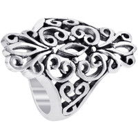 925 Sterling Silver Polished Finish Filigree Design Ring