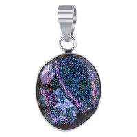 Sterling Silver Purple and Green Druzy Glass 0.7 x 1.5 inch Pendant