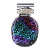 Sterling Silver Purple and Green Druzy Glass 1.2 x 2 inch Pendant