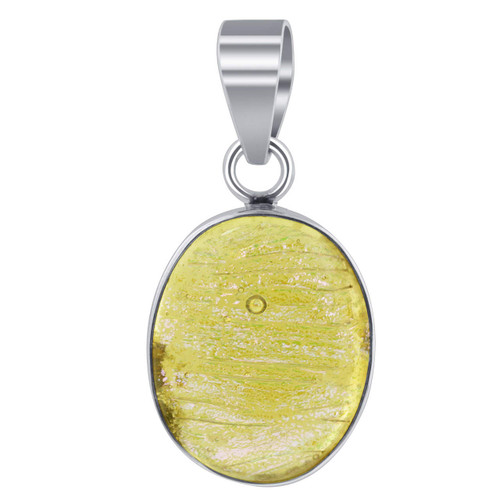 Sterling Silver Yellow Druzy Glass 0.9 x 1.7 inch Pendant