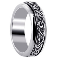 Mens 925 Sterling Silver 6mm Celtic Knot Design Spinning Band