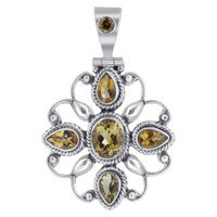925 Sterling Silver Citrine Gemstone Flower Design Pendant
