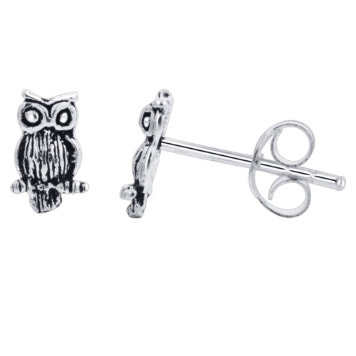 925 Silver 8 x 5mm Hand Crafted Perching Owl Stud Earrings