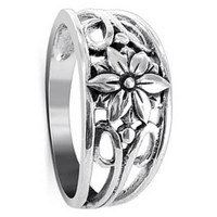925 Sterling Silver Filigree Floral Design Ring