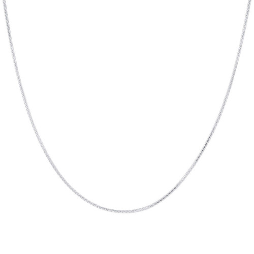 Sterling Silver Rhoidum Plated Spiga Wheat Chain Necklace