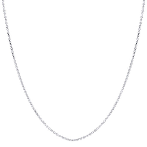 Sterling Silver 1mm Rhoidum Plated Rolo Chain Necklace