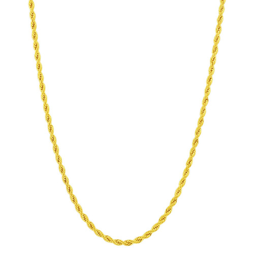 Stainless Steel Gold Plated 3mm Rope Chain Necklace