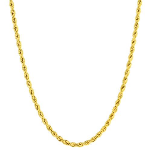 Stainless Steel Gold Plated 4mm Rope Chain Necklace