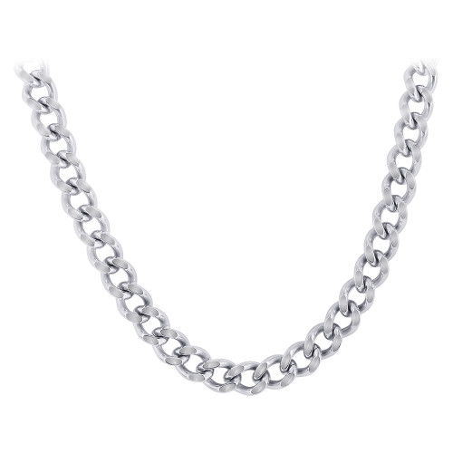 Stainless Steel 7.5mm wide Curb Link Chain Necklace