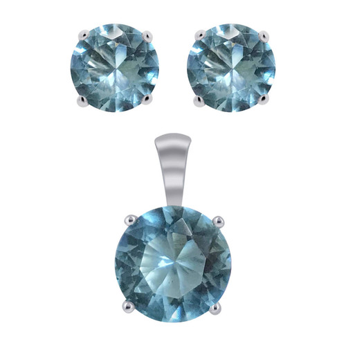 Rhodium Plating 925 Silver Simulated Aquamarine jewelry Set