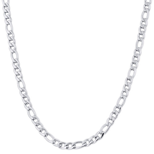Stainless Steel 7.5mm Figaro Chain Necklace For Men