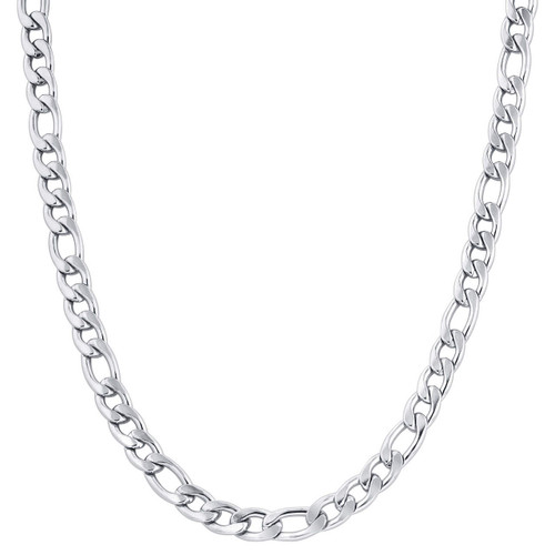 Stainless Steel 8.5mm Figaro Chain Necklace For Men