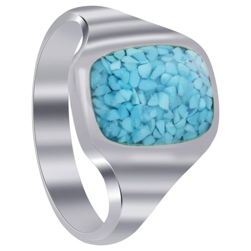 925 Silver Turquoise Rectangle Chip Inlay Men Band Ring
