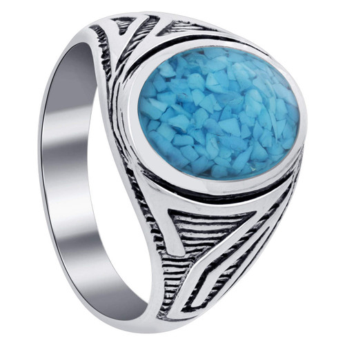 925 Silver Turquoise Oval Chip Inlay Men Band Antique Ring