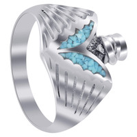 925 Silver Turquoise Inlay Southwestern Style Men's Ring