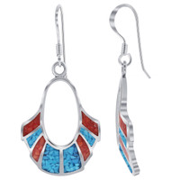 925 Silver Turquoise & Coral Inlay Oval Shape Drop Earrings
