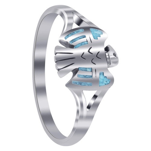 925 Silver Southwestern Eagle Turquoise Inlay Ring