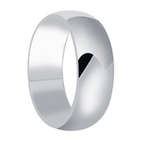 Men's 925 Plain Sterling Silver Polished Finish 8mm Wedding Band #LWRS165