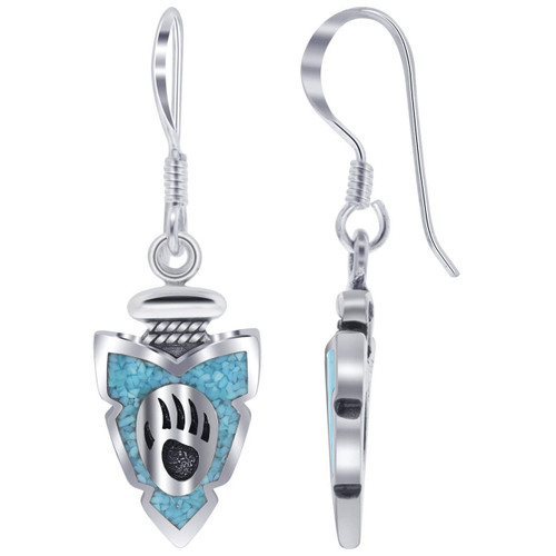 925 Silver Turquoise Inlay Bear Paw Design Drop Earrings