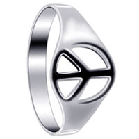 925 Plain Sterling Silver Polished Finish 8mm Peace Sign Ring #LWRS173