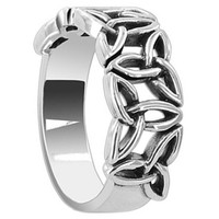 925 Sterling Silver Polished Finish 6mm Celtic knot Triquetra Ring